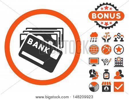 Credit Money icon with bonus elements. Vector illustration style is flat iconic bicolor symbols, orange and gray colors, white background.