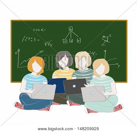 girl student sitting with a laptop on the background of the school board. school study. vector illustration.