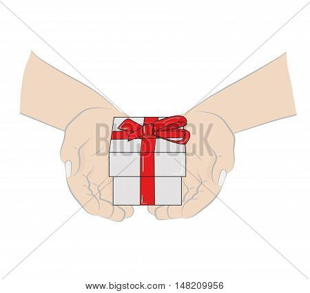 Hands stretch a gift. congratulations. vector illustration.