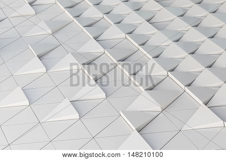 Abstract architectural 3D illustration of white triagles