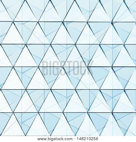 Abstract 3d illustration architectural background of triagles with double exposure