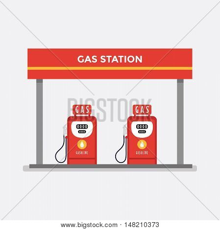 Petrol gas station concept in flat design style. Fuel and energy. vector