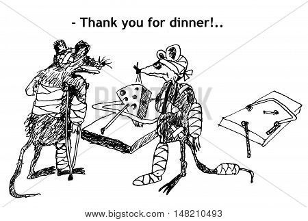 Thank you for dinner! Hand drawn sketch with ink and pen on paper
