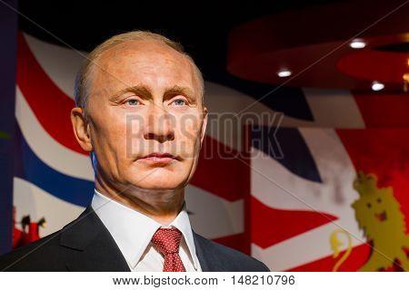 BANGKOK THAILAND - DECEMBER 19: Wax figure of the famous Vladimir Putin from Madame Tussauds on December 19 2015 in Bangkok Thailand.