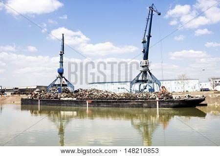 Harbor Cranes And Scrap Metal