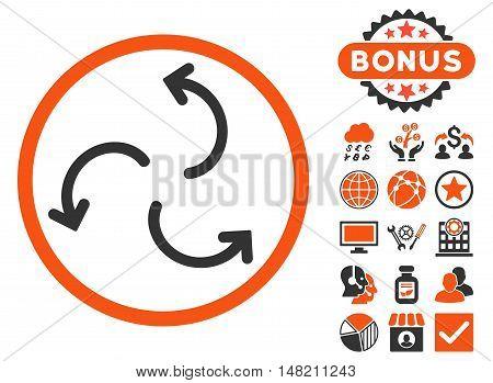 Cyclone Arrows icon with bonus symbols. Vector illustration style is flat iconic bicolor symbols, orange and gray colors, white background.