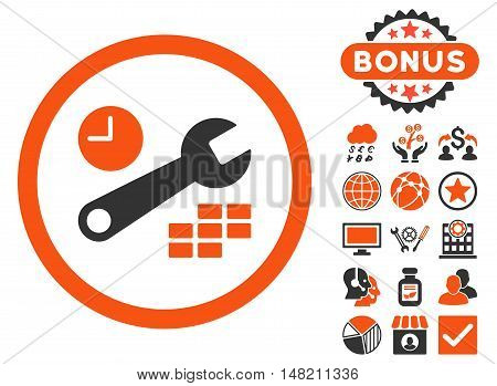 Date and Time Configuration icon with bonus pictures. Vector illustration style is flat iconic bicolor symbols, orange and gray colors, white background.