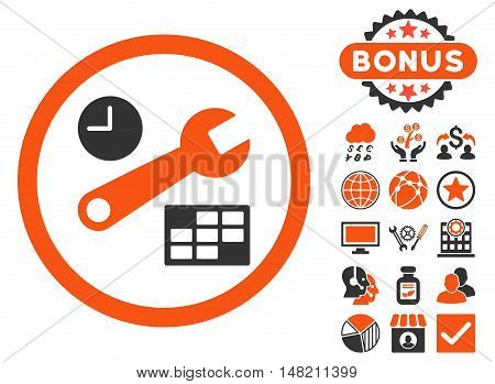 Date and Time Setup icon with bonus design elements. Vector illustration style is flat iconic bicolor symbols, orange and gray colors, white background.