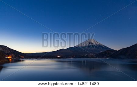 Mt.Fuji at Lake Motosu in winter morning