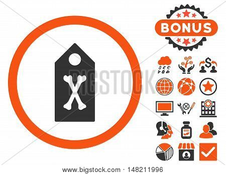 Dead Marker icon with bonus elements. Vector illustration style is flat iconic bicolor symbols, orange and gray colors, white background.