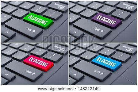 Internet Communication Concept With Blogging Key