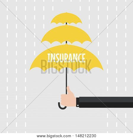 Hand of man holding an umbrella in the rain. vector