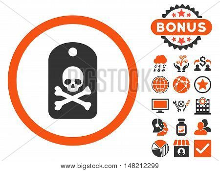 Death Sticker icon with bonus pictures. Vector illustration style is flat iconic bicolor symbols, orange and gray colors, white background.