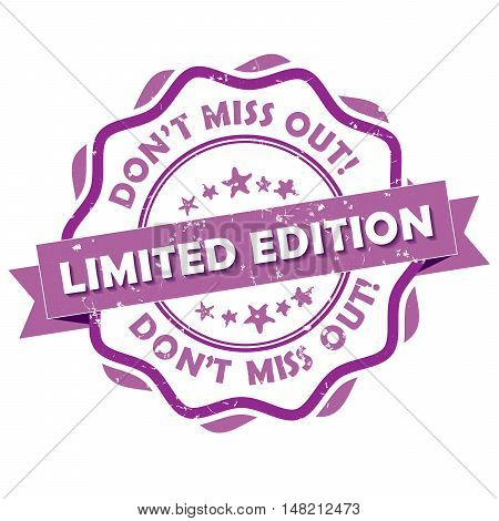Limited edition. Don't miss out! - purple grunge label / sticker. Print colors used