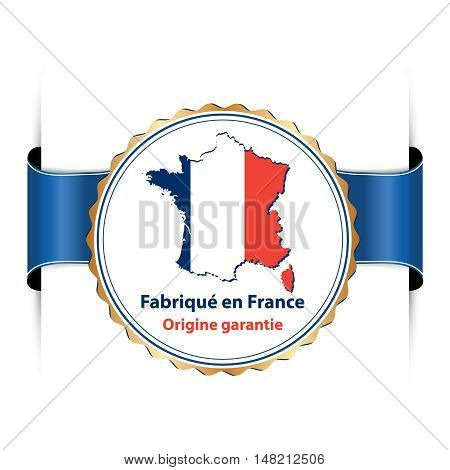 Made in France, protected designation of origin sign - blue badge