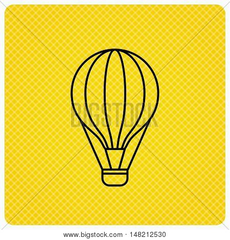 Air balloon icon. Fly transport sign. Airship travel symbol. Linear icon on orange background. Vector