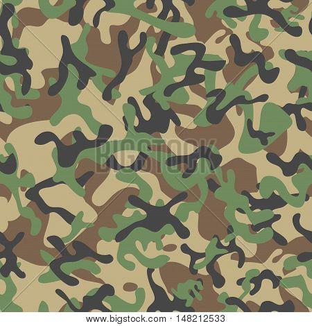 Classic Forest Leaf Camouflage seamless patterns. Vector Illustration.