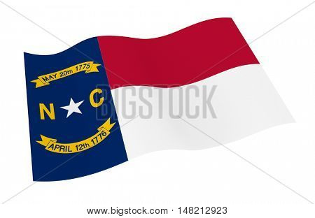 North Carolina flag isolated on white background from world flags set. 3D illustration.