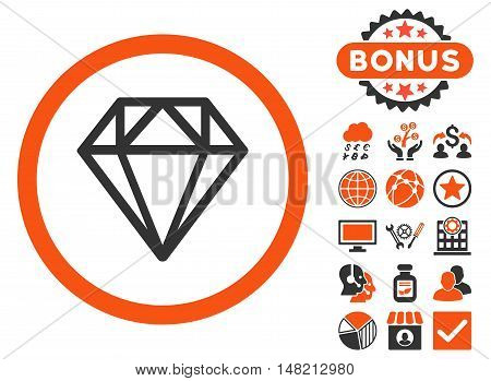 Diamond icon with bonus pictures. Vector illustration style is flat iconic bicolor symbols, orange and gray colors, white background.