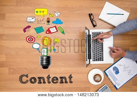 Businessman Working , Content Marketing, Online Concept