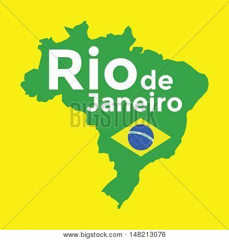 Brazil map Rio de Janeiro. vector illustration