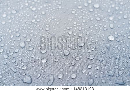Water Droplets On Grey Fiber Waterproof Fabric.