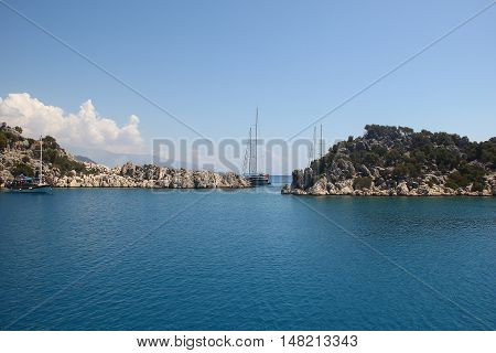 Sea excursion of the Mediterranean Sea on a yacht to the Simena Island and ancient flooded city Kekova Turkey September 6 2016