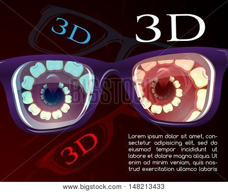 Presentation of 3d cinema glasses, vector illustration for Your deign, eps10