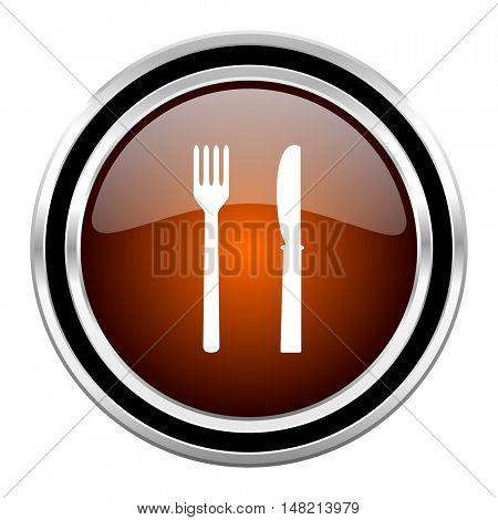 eat round circle glossy metallic chrome web icon isolated on white background