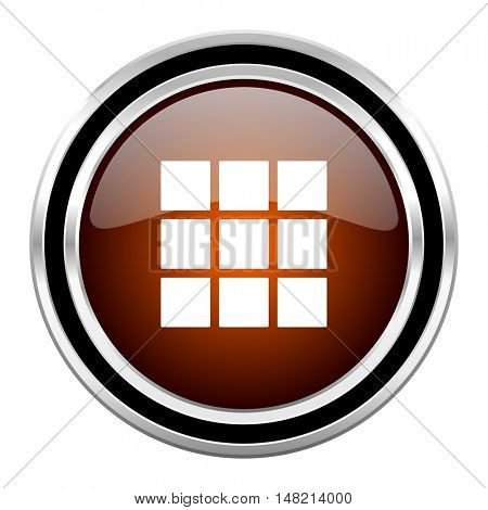 thumbnails grid round circle glossy metallic chrome web icon isolated on white background