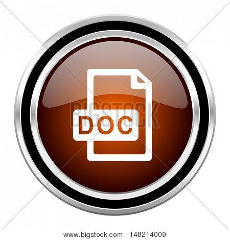 doc file round circle glossy metallic chrome web icon isolated on white background