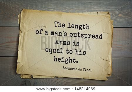 TOP-60. Aphorism by Leonardo da Vinci - Italian artist (painter, sculptor, architect) and scientist, anatomist,writer, musician.  The length of a man's outspread arms is equal to his height.