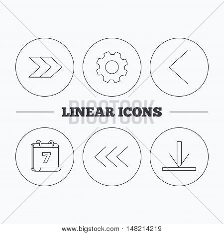 Arrows icons. Download, left and right direction linear signs. Next, back arrows flat line icons. Flat cogwheel and calendar symbols. Linear icons in circle buttons. Vector