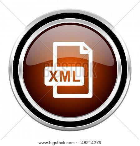 xml file round circle glossy metallic chrome web icon isolated on white background