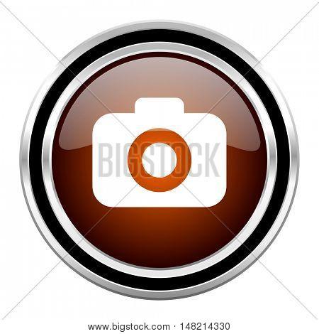 photo camera round circle glossy metallic chrome web icon isolated on white background