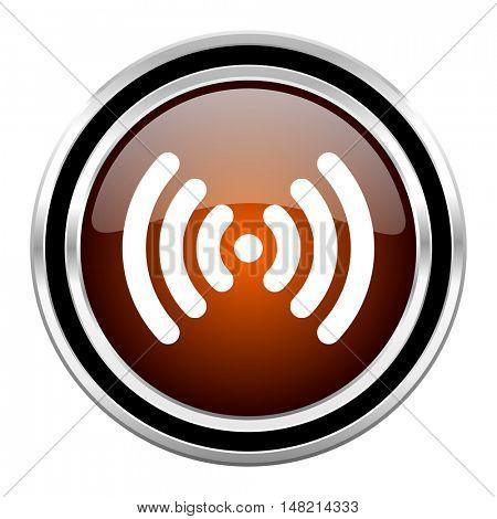 wifi round circle glossy metallic chrome web icon isolated on white background