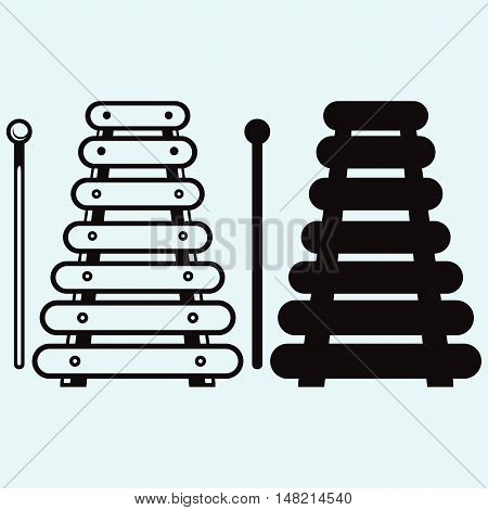 Xylophone musical instrument. Isolated on white background. Vector style