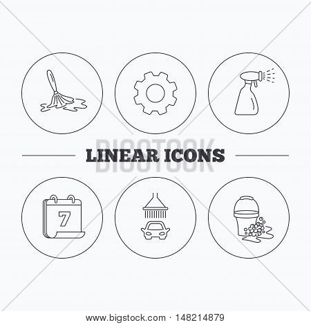 Car wash icons. Automatic cleaning station linear signs. Bucket with foam bubbles, spray flat line icons. Flat cogwheel and calendar symbols. Linear icons in circle buttons. Vector