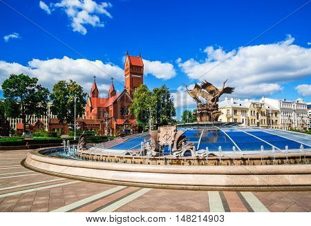 Church of St. Simon and Alena on Independence Square in Minsk on the background of a fountain 25 августа 2016