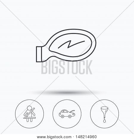 Car mirror repair, oil change and seat belt icons. Fasten seat belt linear sign. Linear icons in circle buttons. Flat web symbols. Vector
