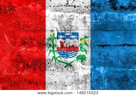 Flag Of Alagoas State, Brazil, Painted On Dirty Wall