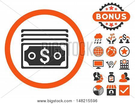 Dollar Banknotes icon with bonus pictures. Vector illustration style is flat iconic bicolor symbols, orange and gray colors, white background.