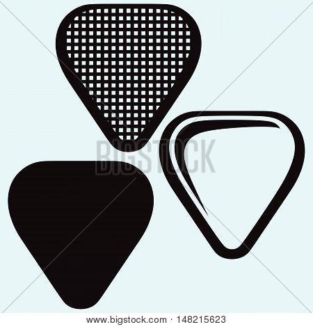 Guitar plectrum. Image isolated on blue background