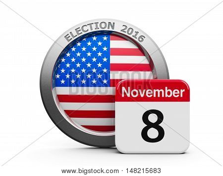 Emblem of USA with calendar button - The Eighth of November - represents the Election Day 2016 in USA three-dimensional rendering 3D illustration