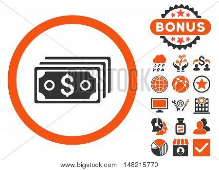 Dollar Banknotes icon with bonus symbols. Vector illustration style is flat iconic bicolor symbols, orange and gray colors, white background.