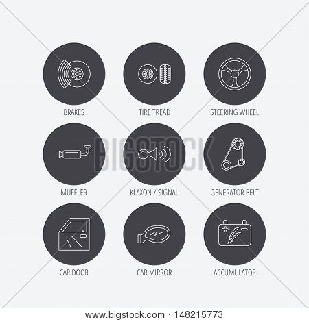 Accumulator, brakes and steering wheel icons. Generator belt, klaxon signal and car mirror linear signs. Door icon. Linear icons in circle buttons. Flat web symbols. Vector