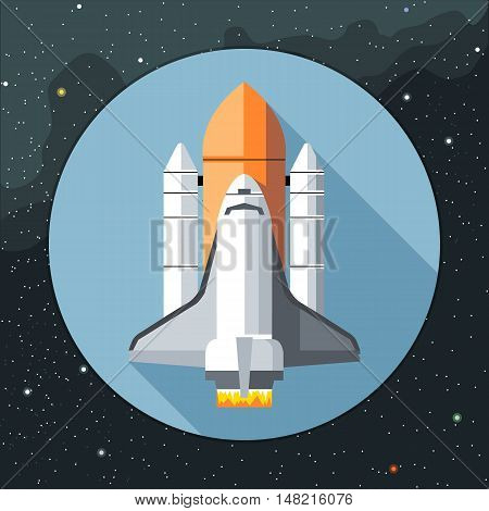Digital vector with space shuttle icon, over background with stars, flat style