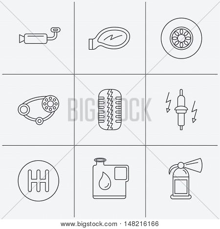 Wheel, car mirror and timing belt icons. Fire extinguisher, jerrycan and manual gearbox linear signs. Muffler, spark plug icons. Linear icons on white background. Vector