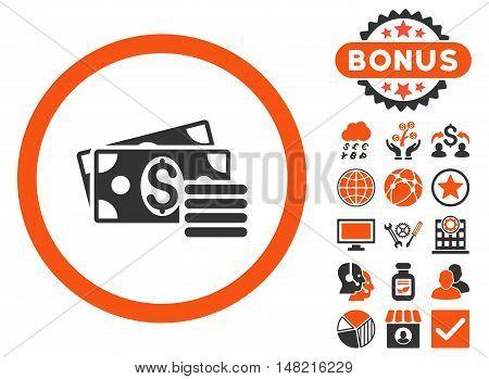 Dollar Cash icon with bonus pictogram. Vector illustration style is flat iconic bicolor symbols, orange and gray colors, white background.