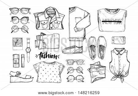 Hand Drawn Vector Illustration - Fashion Accessories. Set Of Stylish Clothes. Set Of Trendy Look. Is